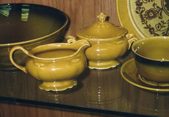 Dresden sugar and creamer on display at HLC & Dresden by the Homer Laughlin China Company