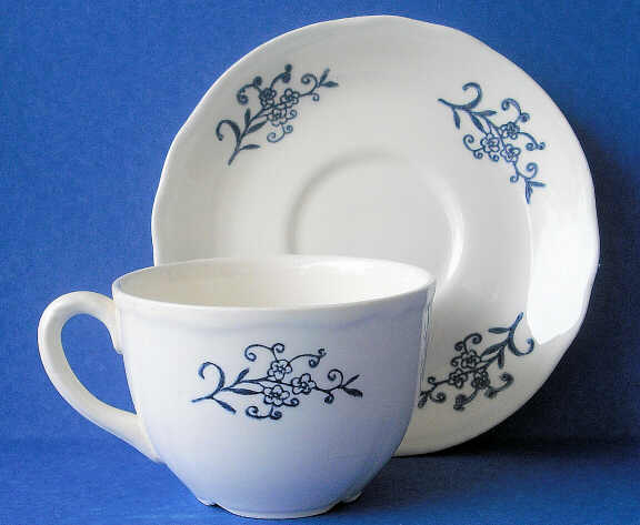 Dresden demitasse cup and saucer & Dresden by the Homer Laughlin China Company
