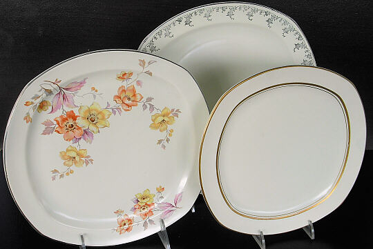 Left platinum st& decorated sugar Medallion sugar (J-59) 6  plate and fruit cup with J-9. Right Jade plates 10  with platinum st&s 9  with decals ... & Jade by the Homer Laughlin China Company