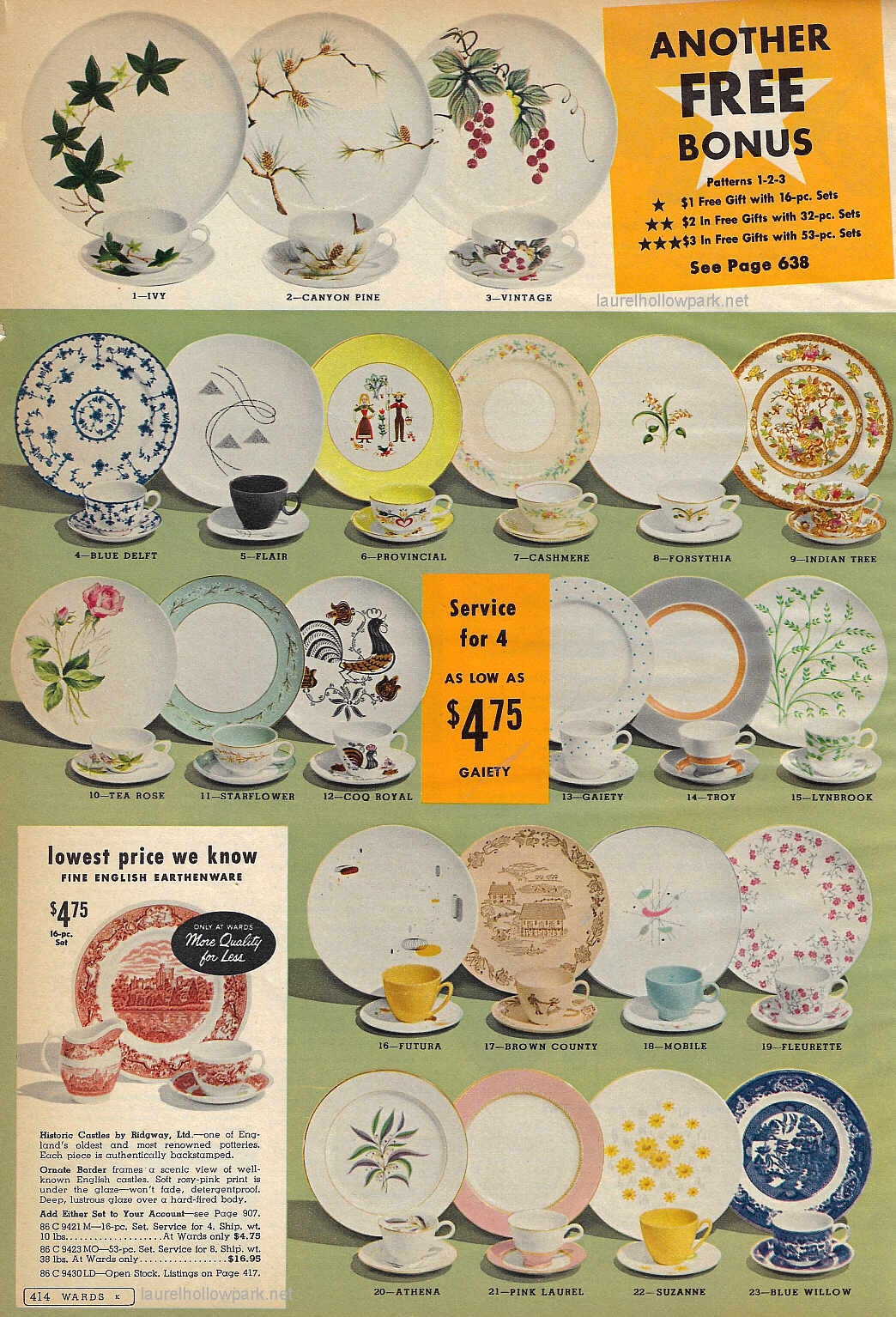 (4) Blue Deflt (12) Coq Royal and (17) Brown Country were made by the Royal China Company.  sc 1 st  Laurel Hollow Park & Montgomery Wards Dinnerware 1959